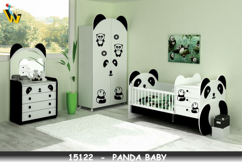 PANDA BABYROOM WITH TRANSFORMABLE BED